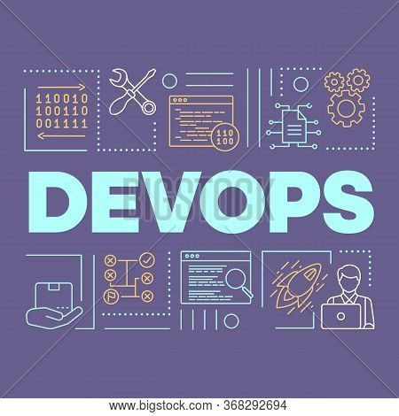 Devops Word Concepts Banner. Binary System. Presentation, Website. Isolated Lettering Typography Ide