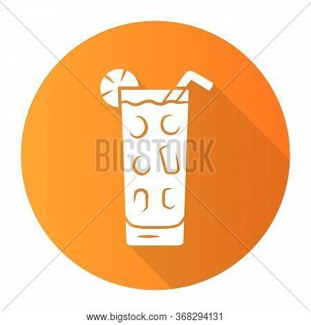 Cocktail In Highball Glass Orange Flat Design Long Shadow Glyph Icon. Summer Icy Refreshing Soft Dri