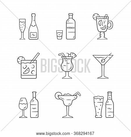 Drinks Linear Icons Set. Alcohol Drinks Card. Vodka, Hot Toddy, Wine, Beer, Martini, Margarita, Pina