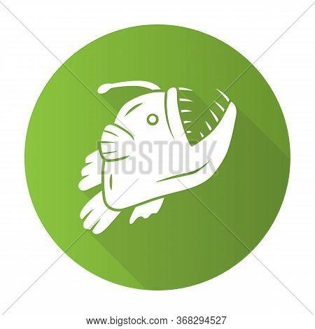 Anglerfish Green Flat Design Long Shadow Glyph Icon. Swimming Goosefish. Underwater World. Ocean Mon