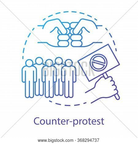 Counter Protest Concept Icon. Public Demonstration, Disagreement Manifestation Idea Thin Line Illust