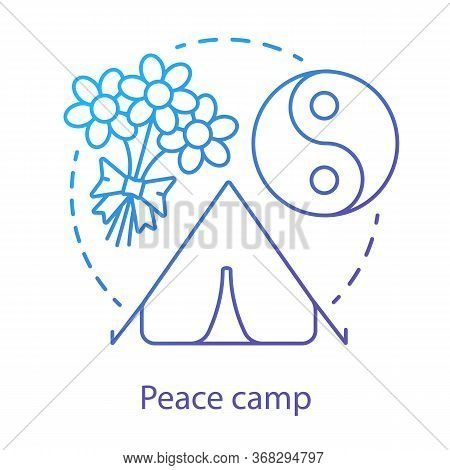 Peace Camp Concept Icon. Anti War Protest, Hippie Movement, Pacifism Idea Thin Line Illustration. Yi
