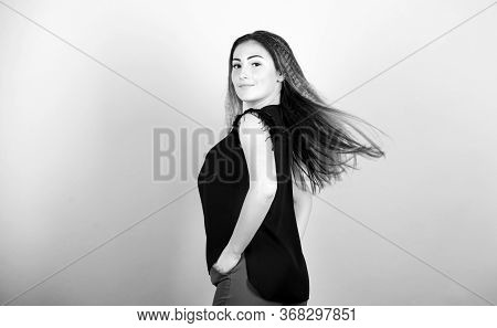 Fashion Girl Stylish Hairstyle. Hair Crimping Method Styling Hair Become Wavy. Voluminous Crimped Ha