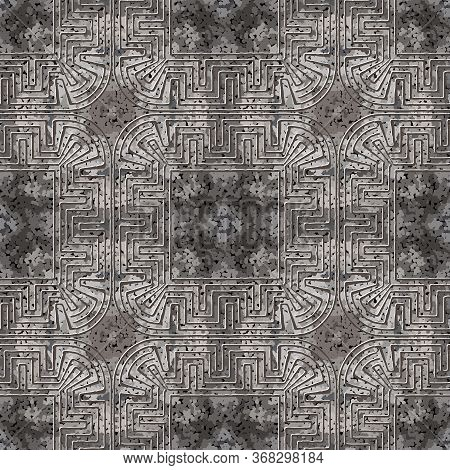 Textured Abstract Grunge Vector Seamless Pattern. Greek Frames Ornamental Background. Repeat Rough S