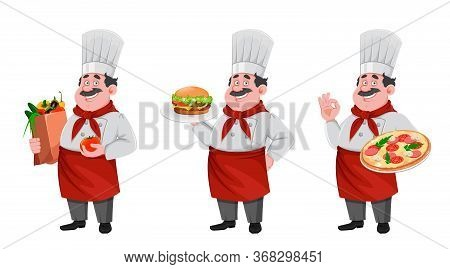 Handsome Chef Cartoon Character, Set Of Three Poses. Cheerful Cook In Professional Uniform. Vector I