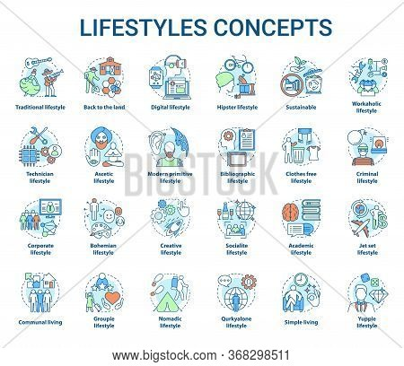 Lifestyles Concepts Icons Set. Living Types Idea Thin Line Illustrations. Technician, Digital, Hipst