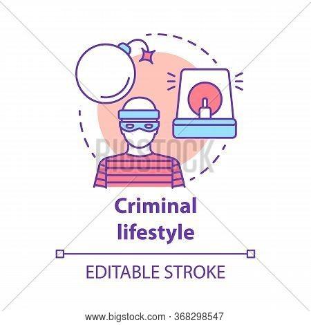 Criminal Lifestyle Concept Icon. Committing Crime Idea Thin Line Illustration. Terrorist With Bomb.