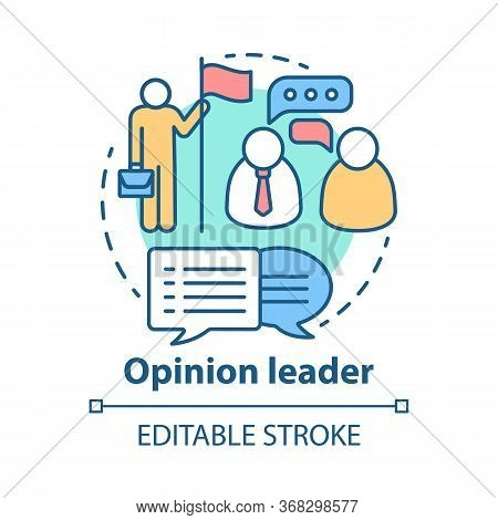 Opinion Leader Concept Icon. Public Speaker Idea Thin Line Illustration. Influence People Behavior.