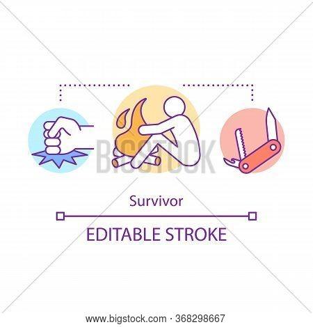 Survivor Concept Icon. Remaining Alive Idea Thin Line Illustration. Rest Near Bonfire. Travelling In