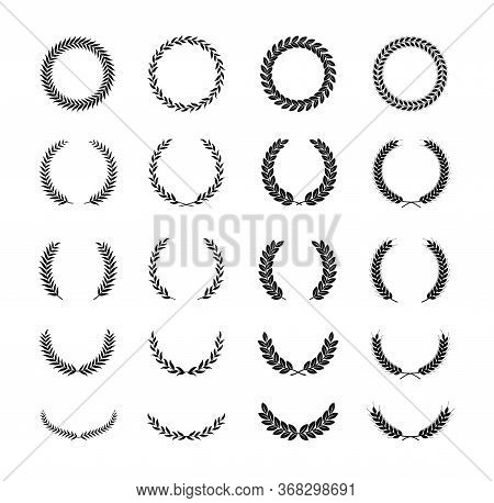 Set Of Different Black And White Silhouette Laurel Foliate And Wheat Wreaths Depicting An Award, Ach