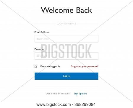 Login Form For Members. Sign In Mockup Window. Template Form For User With Email And Password Fields