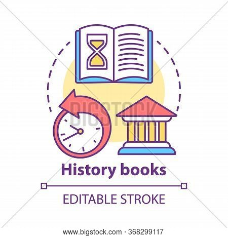 History Books Concept Icon. Ancient Times Idea Thin Line Illustration. World Historic Literature. Hi
