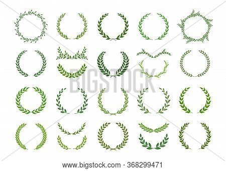 Set Of Green Silhouette Laurel Foliate, Olive And Wheat Wreaths. Vector Illustration For Your Frame,