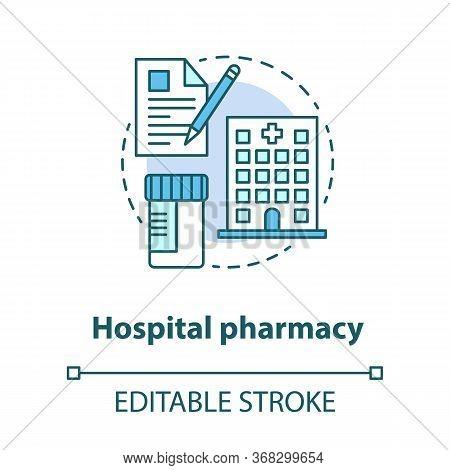 Hospital Pharmacy Concept Icon. Medication Idea Thin Line Illustration. Intensive Care Pharmaceutica