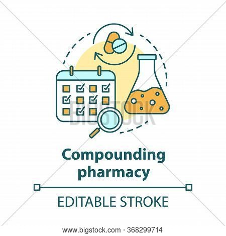 Compounding Pharmacy Concept Icon. Personalized Medications Idea Thin Line Illustration. Medication