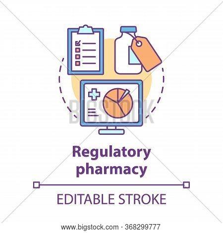 Pharmacy Concept Icon. Regulatory Pharmacology Idea Thin Line Illustration. Medicine Effectiveness A