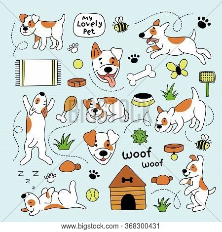 Cute Funny Dog In Different Poses. Sleeping, Running, Lying, Jumping Dog. Set Of Vector Doodle Illus