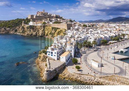 Aerial View Of Ibiza Town, Castell De Eivissa. Balearic Islands, Spain