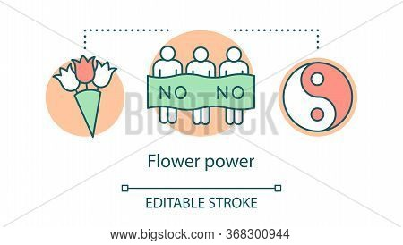 Flower Power Concept Icon. Hippie Movement, Nonviolence Ideology Idea Thin Line Illustration. Yin An