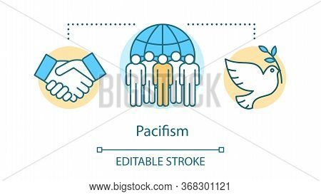 Pacifism Concept Icon. Nonviolent Resistance, Militarism Opposition Idea Thin Line Illustration. Whi