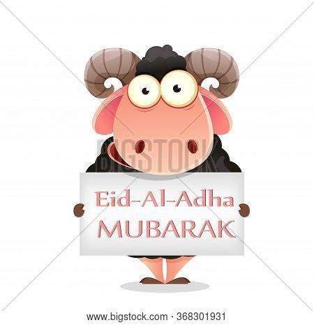 Eid Al-adha Mubarak. Traditional Muslim Holiday. Kurban Bayrami. Funny Cartoon Character Ram Holding