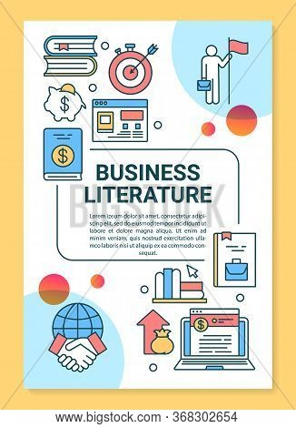 Business Literature Poster Template Layout. Banner, Booklet, Leaflet Print Design With Linear Icons.