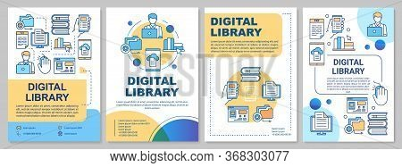 Digital Library Brochure Template. Ebooks Reading. Flyer, Booklet, Leaflet Print, Cover Design With