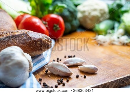 Fresh Healthy Food Closeup. Healthy Food. Vegetarian Food. Nutritious Food. Fresh Veggies And Bread