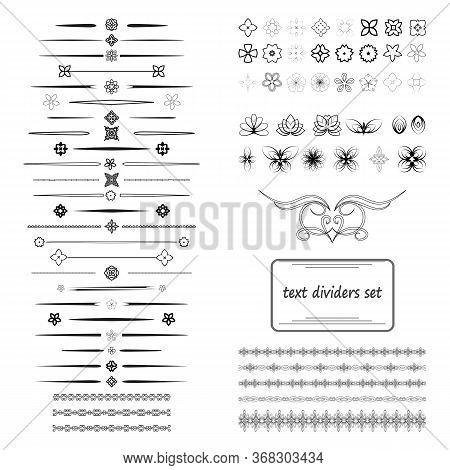A Diverse Collection Of Vector Dividers, Bumpers, Frames, Ornaments. Floral Elements. Divider Set Is