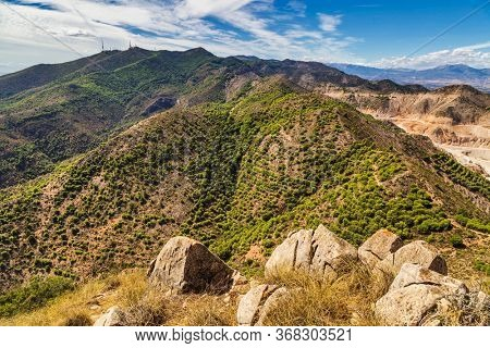 Panoramic view of Costa del Sol from the top of Calamorro mountain, Benalmadena, Andalusia, Spain.