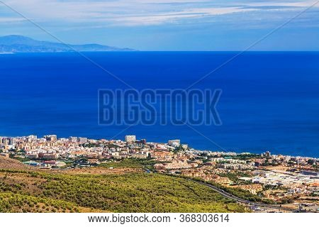 Panoramic view of Costa del Sol from the top of Calamorro mountain, Benalmadena, Andalusia province, Spain.