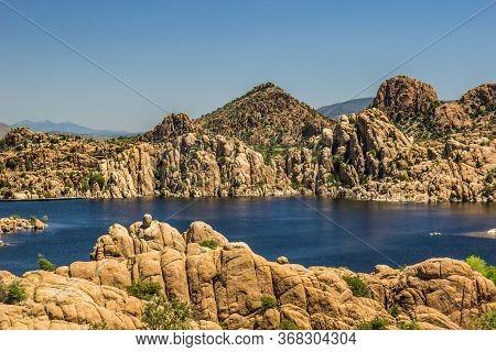 Unusual Rock Formation Shoreline On Mountain Lake