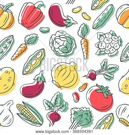 Vegetables Vector Seamless Pattern. Veggies Background. Healthy Eating. White Texture, Hand Drawn Co