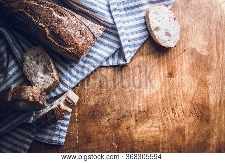 Chopped Homemade Bread Food On Table. Healthy Food. Healthy Breakfast Food. Nutritious Food. Plate W