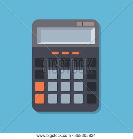 Flat Image With Calculator. Concept Calculate Account Finance. Office Equipment - Calculator. Office