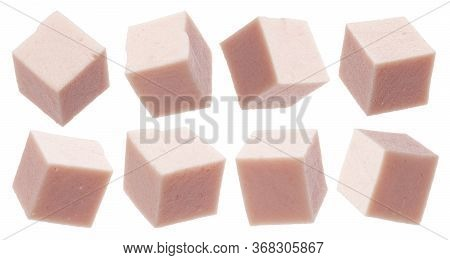 Boiled Sausage Cubes Isolated On White Background