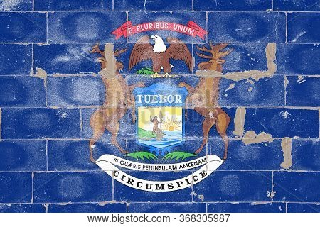 National Flag Of Usa State Of Michigan - In Center Coat Of Arms Is A Blue Shield, With Rising Sun Ov