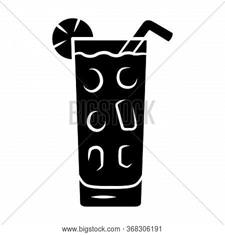 Cocktail In Highball Glass Glyph Icon. Summer Icy Refreshing Soft Drink With Slice Of Lemon And Stra