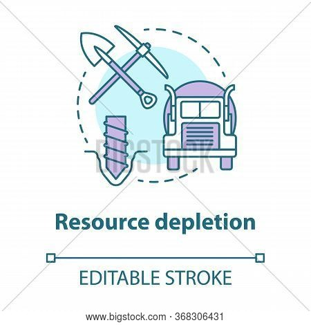 Resource Depletion Concept Icon. Natural Minerals Exhaustion Idea Thin Line Illustration. Nonrenewab