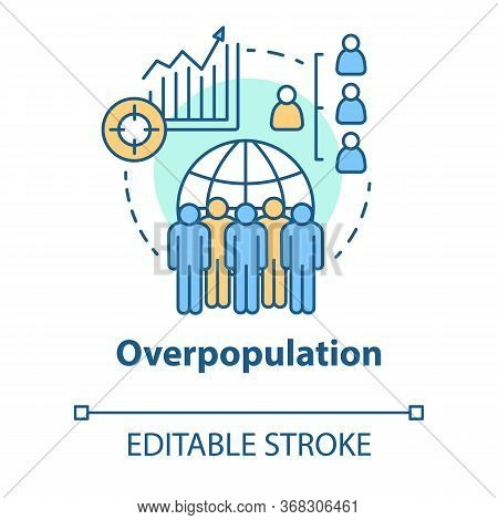 Overpopulation Concept Icon. Planet Overcrowding Idea Thin Line Illustration. Increasing Number Of P