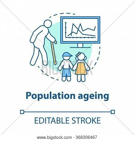 Population Ageing Concept Icon. Elderly People Number Increasing On Planet Idea Thin Line Illustrati