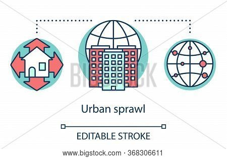 Urban Sprawl Concept Icon. Growth Of Cities. Urbanization. Expansion Of Megalopolises. Urban Housing