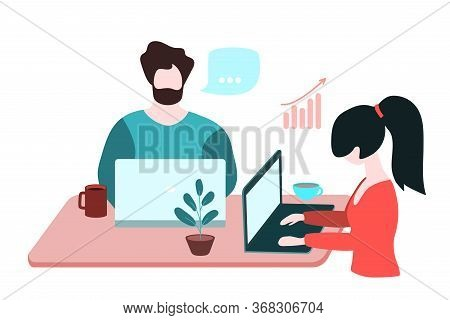 Happy Couple Work Together At Home. Husband And Wife Sitting At The Table With Laptops. Work Online.