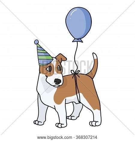 Cute Cartoon Bull Terrier Puppy With Party Hat Vector Clipart. Pedigree Kennel Show Dog Lovers. Pure
