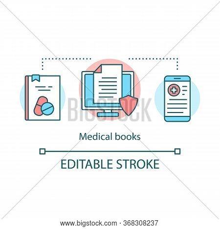 Medical Books Concept Icon. Clinical Studies Literature Idea Thin Line Illustration. Health Treatmen