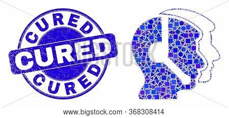 Geometric Call Service Operators Mosaic Icon And Cured Seal Stamp. Blue Vector Round Textured Seal S