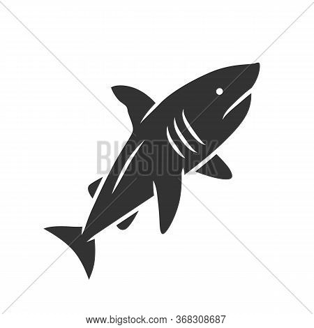 Shark Glyph Icon. Dangerous Ocean Predator. Swimming Fish. Underwater Animal, Ocean Wildlife. Marine