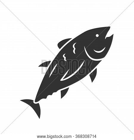 Tuna Glyph Icon. Swimming Marine Fish. Underwater Inhabitant. Mackerel Fishing. Seafood Restaurant.