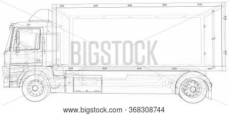 Commercial Van Truck. Vector Illustration Of Freight Truck. The Layers Of Visible And Invisible Line