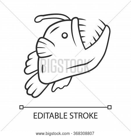 Anglerfish Linear Icon. Swimming Goosefish. Ocean Monster, Undersea Animal With Open Mouth. Marine P